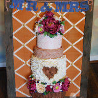 Framed Rustic Wedding Cake This was my entry in the North Texas Cake Show. It is a rustic wedding cake that is completely edible except the wires in the flowers. It...