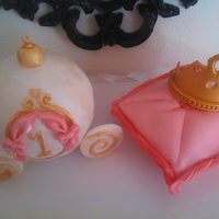 "Princess Theme Pillow Crown Cake the carriage is a 6"" ball pan cake covered in fondant detail is 50/50 fondant and modeling chocolate pillow cake is a small 7""..."