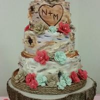 Birch Wedding Cake Fondant covered birch wedding cake with hand made burlap flowers