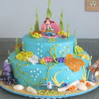 The Little Mermaid - Ariel Cake covered in buttercream. Fondant accents. Figurines were provided so I wasn't expected to make them (yay!)