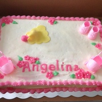 Baby Shower Girl Texas white sheet cake filled with strawberry compote. White butter cream icing