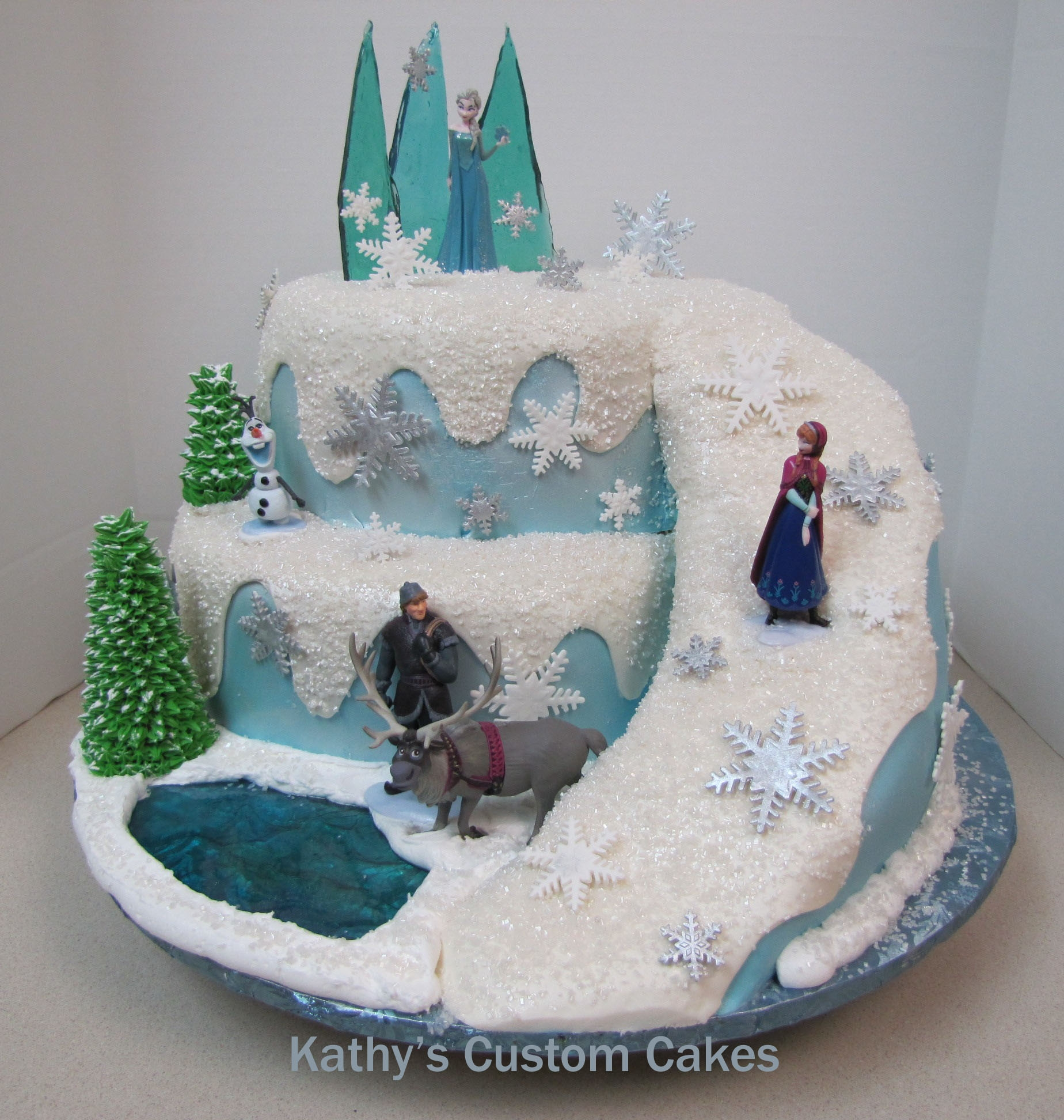 Frozen This is a carved cake that I saw on Pinterest. I don't know who the original designer was but I just loved the way the pathway went...