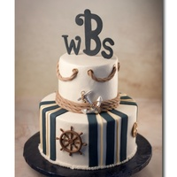 Squared Away Wedding cake with nautical them. All buttercream with fondant accents.