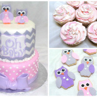 Owl Themed Baby Shower Cake I was given a photo the client wanted made for her but changed the colour scheme to grey, pink, purple and white. Matching cookies and...