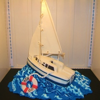 Sailing, Sailing   Carved cake, fondant covered....