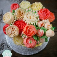 Orange Floral Butter Cream Cake Orange floral butter cream cake