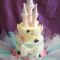Princess Castle Cake   8 and 6 inch cake covered in buttercream; decorations are made with fondant