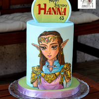 Zelda Birthday Cake The birthday girl loves the Zelda games, I changed princess Zelda colors to match with the celebrant. Image is hand painted with food color...