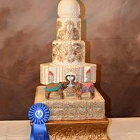 Elegant Indian Wedding Cake This Cake won gold medal in NY Cake Show May 3, 2015. Names Preet (beloved)