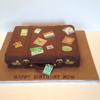 Vintage Suitcase Fondant cake, edible printed tags.
