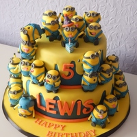Minions Cake This was for my nephews 5th birthday, it took a long time to hand make all those minions.