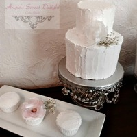 "Rustic Wedding With Wafer Paper Flowers Small 6"" & 4"" cake with many many cupcakes theme rustic flowers wafer paper and babies breath"