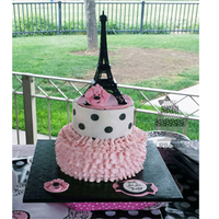 Paris Poodle Theme Cake 2 tiered cake ruffle bottom, top tier wrapped with wafer paper