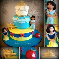 3 Tier Snow White And Princess Jasmine Sponge Cake Disney Princess cake based on two little girls' favourite princesses. All vanilla sponge filled with jam and buttercream