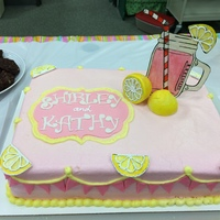 Pink Lemonade Cake 2 layer sheet cake with Pink lemonade favored buttercream faux fondant icing. Lemons and jar with pink lemonade based off invitation were...