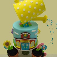 "Thank You For Helping Us Grow - Teacher Appreciation Cake  I made this little cake and cupcake tower for my granddaughter's preschool Teacher Appreciation Luncheon. ""Thank You..."