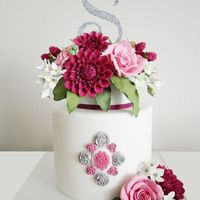 Flower Cake flower cake , dahlia and rose
