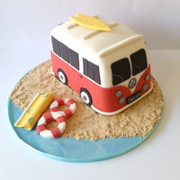 Vw Camper Cake VW campervan cake for a surfers 18th birthday. Cake is white chocolate mud with caramel buttercream. Everything is edible.