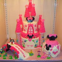 Minnie Mouse Castle Cake   It's all edible, ( with the exception of the figurines) buttercream frosting with fondant accents!!!