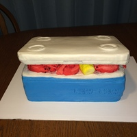 Crawfish In An Ice Chest For grandfathers crawfish boil birthday... Vanilla and German Chocolate layered caked covered in faux fondant buttercream. Crawfish,...