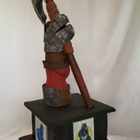 Dota 2 Axe Groom's Cake Sculpted cake inspired by Dota 2 game and characters.