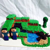 Mine Craft Land Chocolate cake, modeling clay characters and gel water.