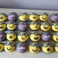 Minion Cupcakes chocolate cupcakes with chocolate buttercream and fondant minion toppers