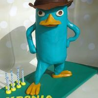 Perry Platypus gravity cake , 50cm tall