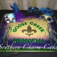 Mardi Gras Mardi Gras themed cake for local high school band banquet.