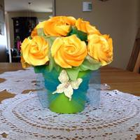 Yellow Rose Cupcake Bouquet   Mini cupcake bouquet: vanilla cupcakes with vanilla Swiss meringue buttercream.
