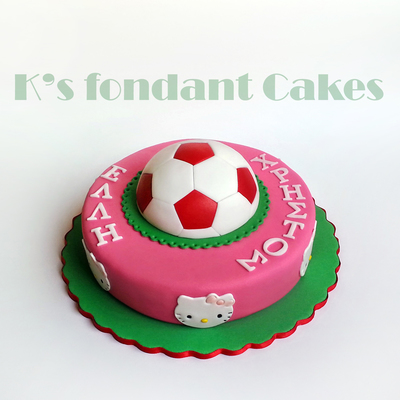 Hello Kitty & Soccer Ball Cake For Twins