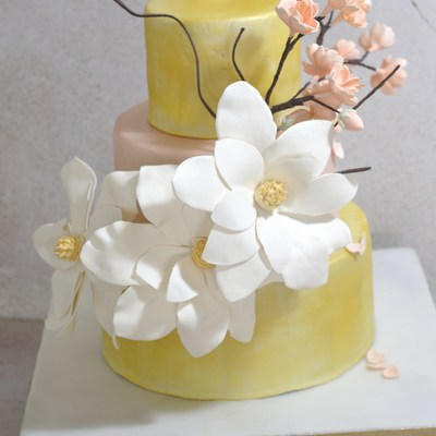 """gold And Cherry Blossom"" Wedding Cake"