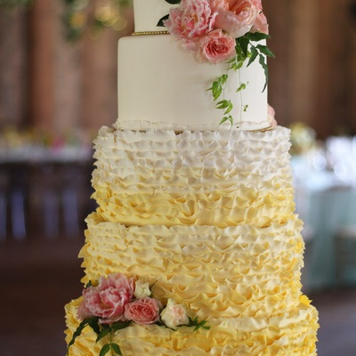 Ivory And Yellow Ombre Ruffle 5 Tier Wedding Cake
