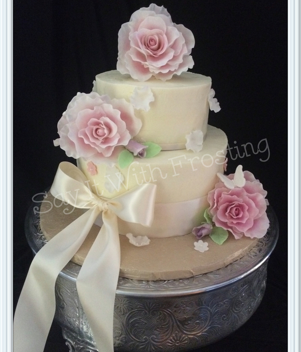 Spring Roses & Butterflies Wedding Cake