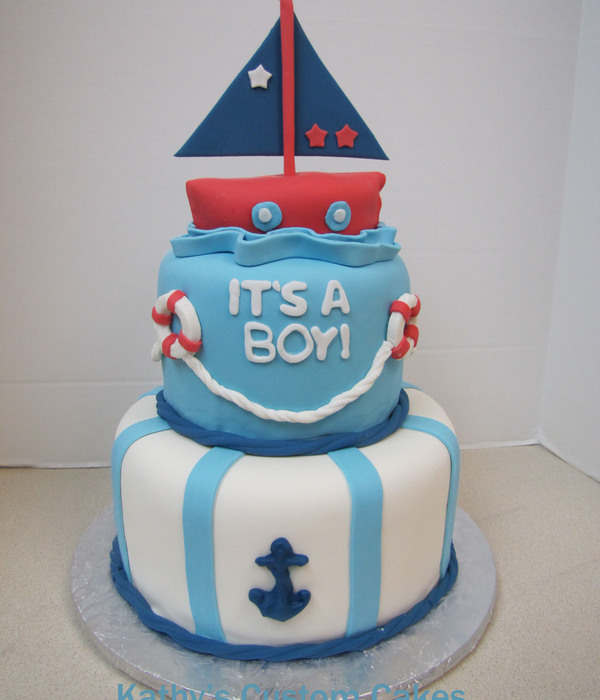 Sailing Baby Shower Cake
