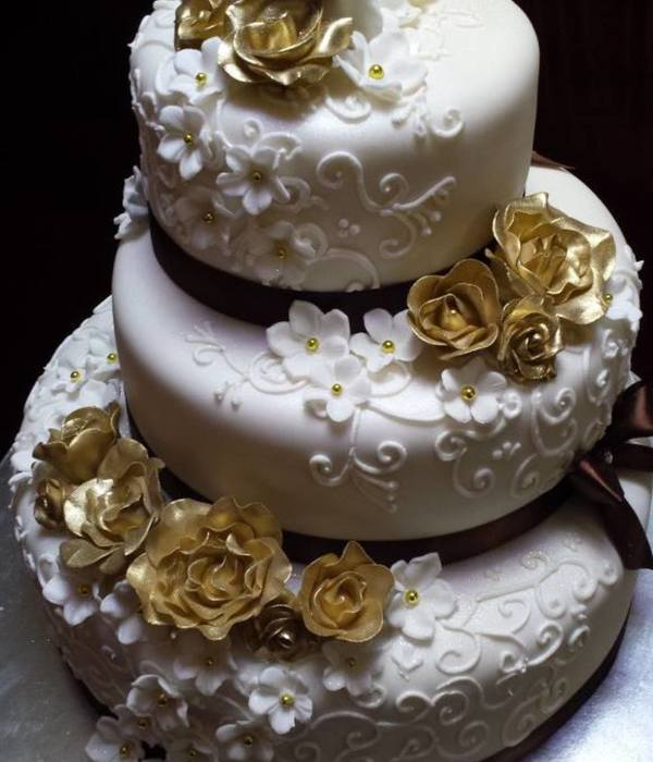 Gold And Brown Wedding Cake - Unique Cakes
