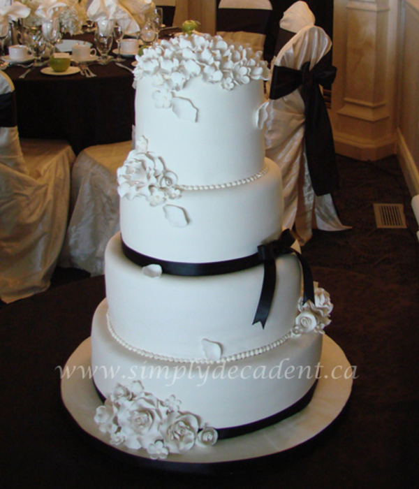 4 Tier Ivory Fondant Wedding Cake With Gumpaste Roses,...