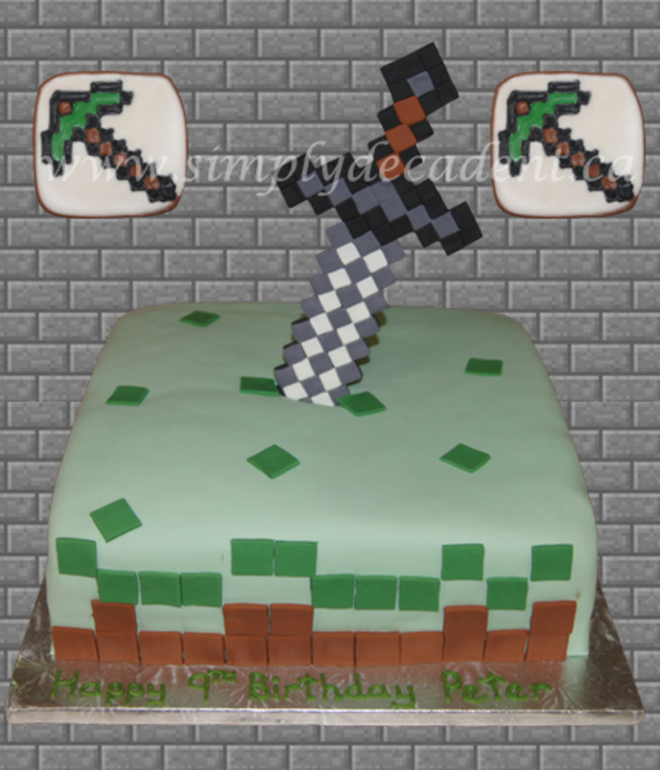 Minecraft Sword Cake With Pickaxe Cookies