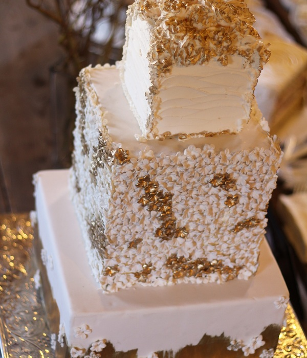Square 3 Tier Wedding Cake In Gold And Ivory With Hundreds...