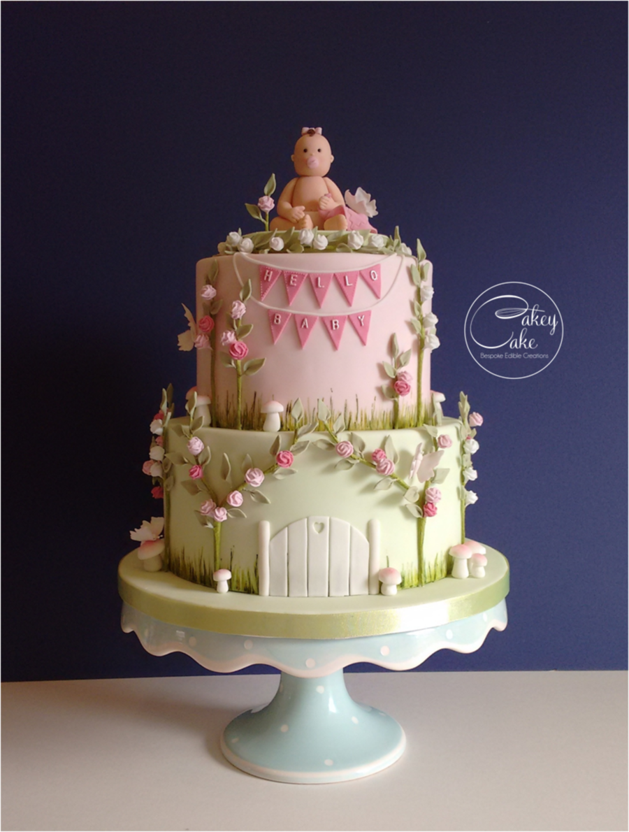 Enchanted Garden Baby Shower Cake - CakeCentral.com