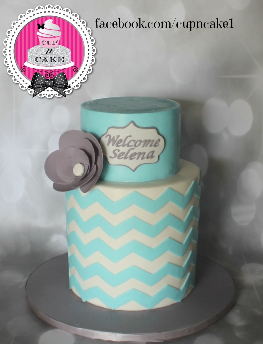 Chevron Baby Shower Cake on Cake Central