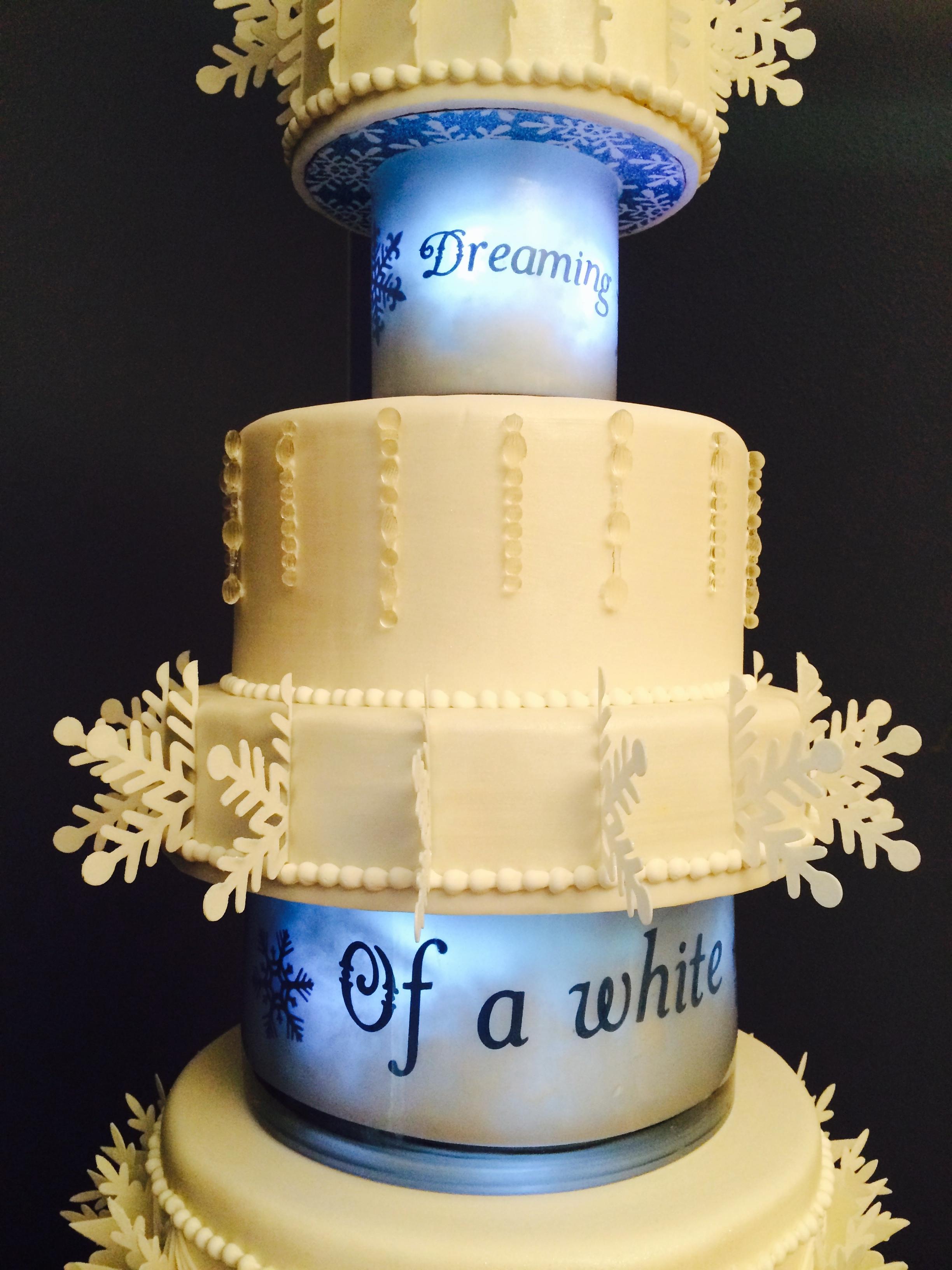 White Christmas Wedding Cake - CakeCentral.com