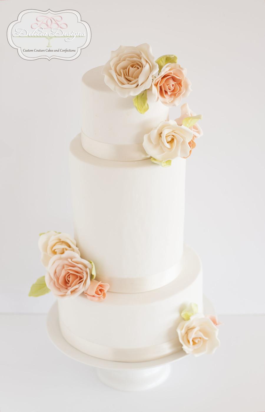 Peach Color Wedding Cake