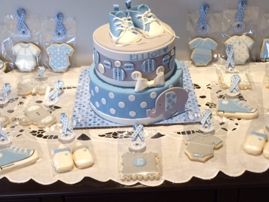 Christening Converse Baby Shoes And Elephant - CakeCentral.com
