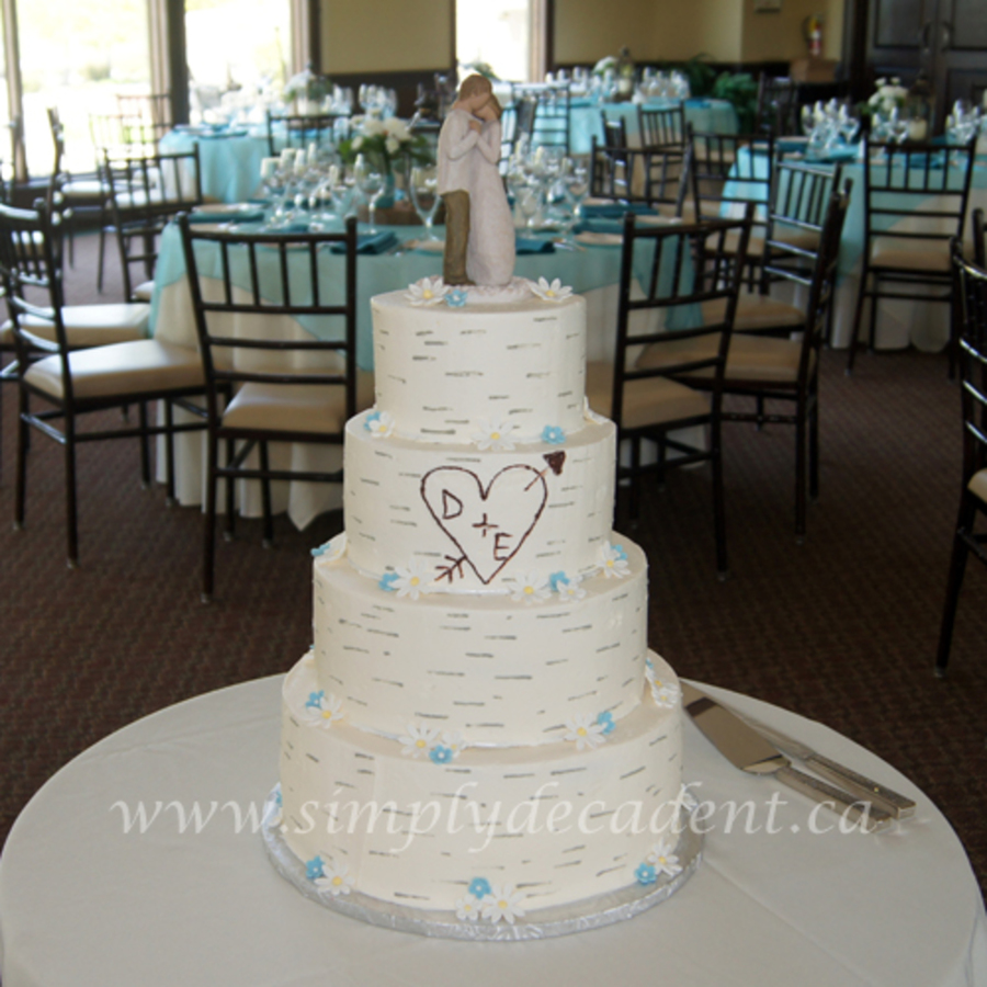 4 Tier Buttercream Birch Bark Wedding Cake Cakecentral Com