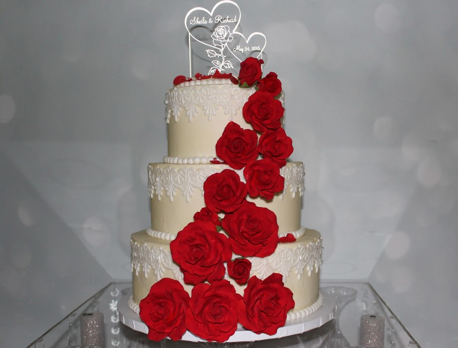 Vintage Ivory, Lace And Red Roses Wedding Cake - CakeCentral.com