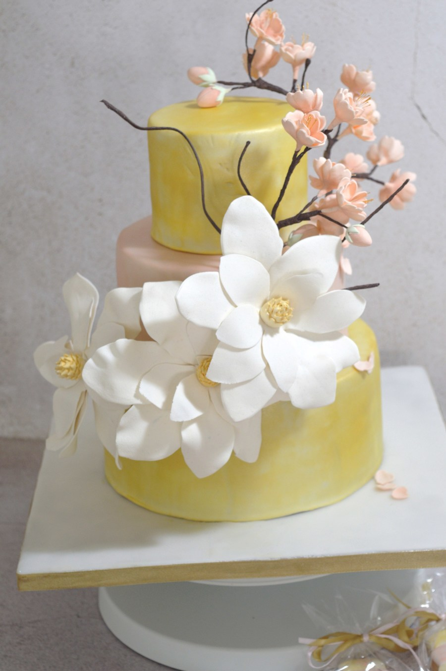 """gold And Cherry Blossom"" Wedding Cake on Cake Central"