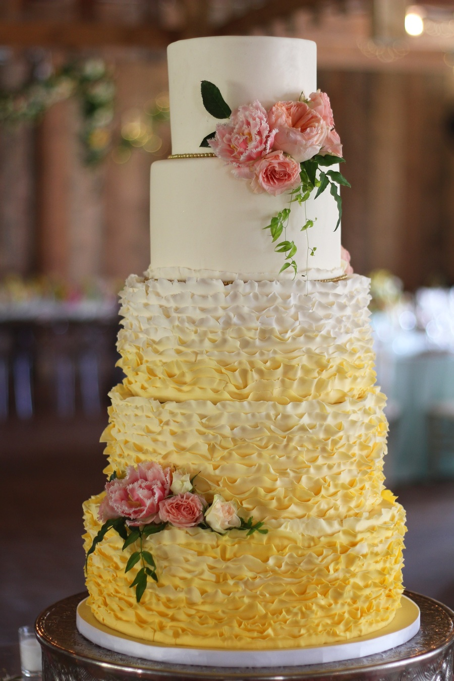 Ivory And Yellow Ombre Ruffle 5 Tier Wedding Cake - CakeCentral.com
