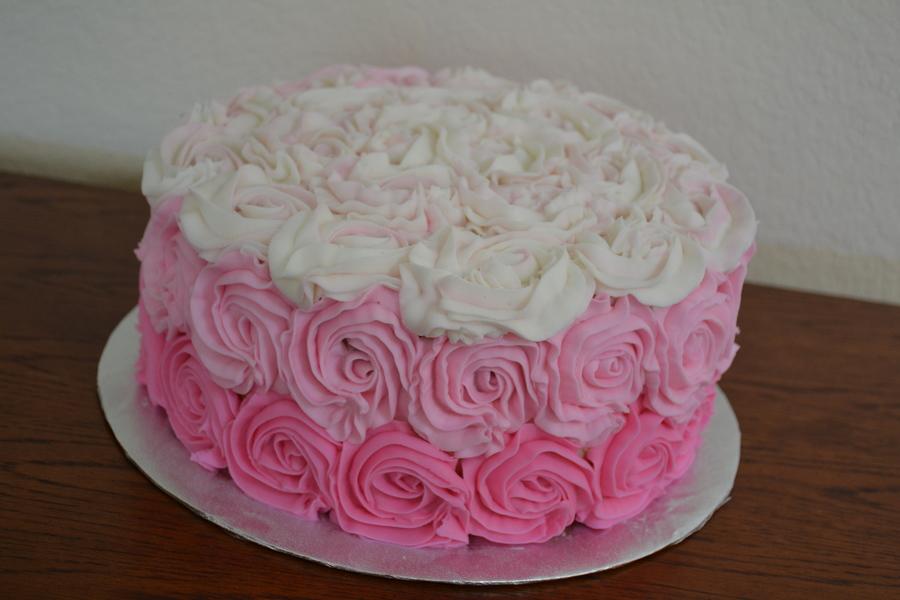 Pink Ombre Rosette Cake Cakecentral Com
