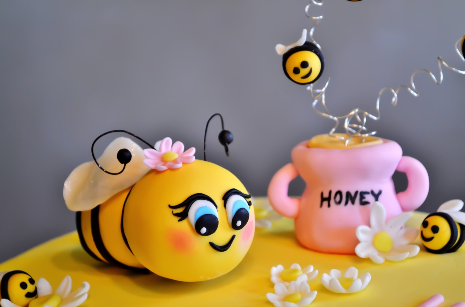A First Birthday Bee Theme Cake With Beehive Smash For The Girl